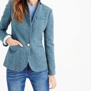 J. Crew 100% wool blue herringbone Campbell blazer
